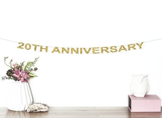 20th Anniversary Glitter Banner Cheers To 20 Years 20th Wedding Anniversary Birthday Ann In 2020 20 Wedding Anniversary 55th Wedding Anniversary Wedding Banner