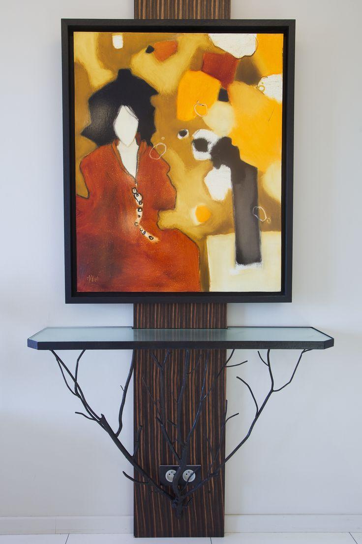 Console acier et verre & tableau www.michele-boni.com interior Design