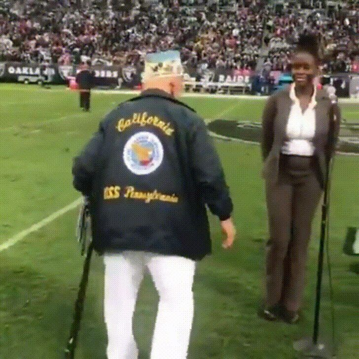 98 year-old Pearl Harbor survivor is honored before the game still ready to make a play