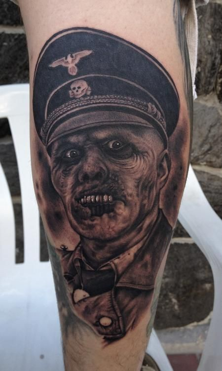 day and night tattoos tattoos black and gray tattoos page 5 nazi zombie tattoo. Black Bedroom Furniture Sets. Home Design Ideas