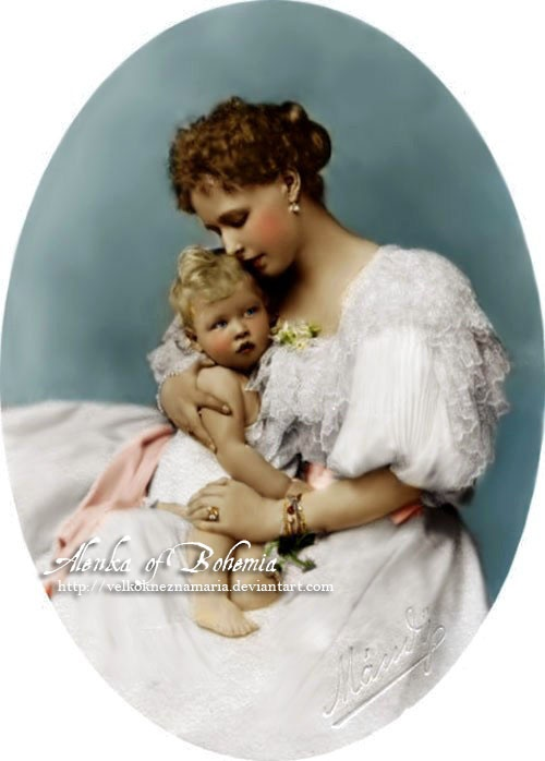 Crown Princess (and later Queen) Maria of Romania, nee Princess of Saxe-Coburg and Gotha, with her firstborn child, Prince Carol. Year 1891
