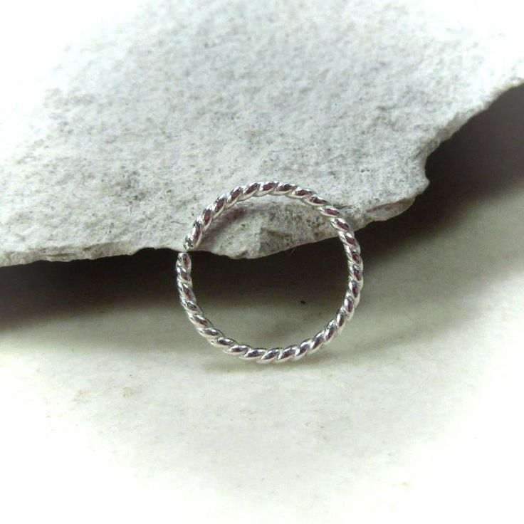 Sterling Silver Nose Ring Dotted Twist