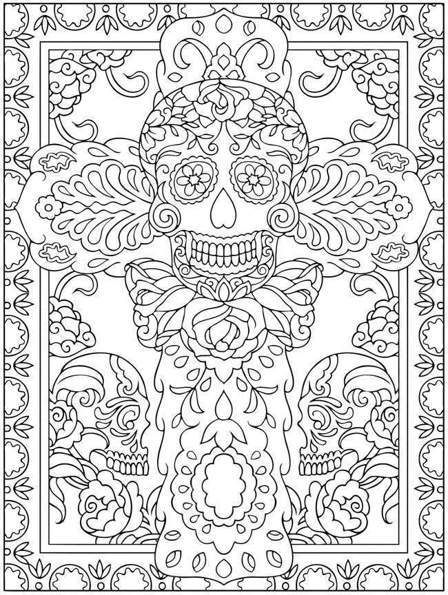creative haven day of the dead coloring book dover publications sample page for mrs weems