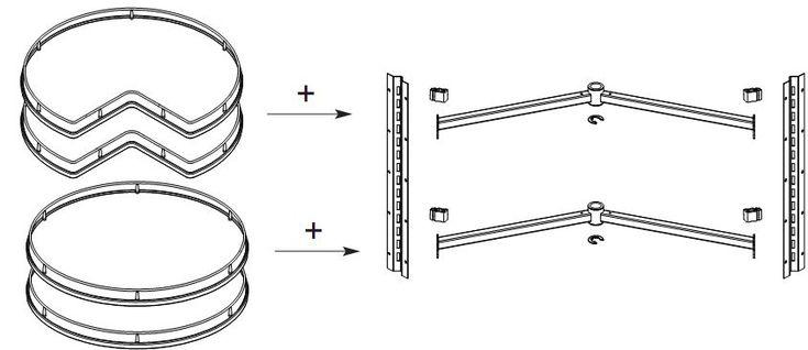 Верхние шкафы Vauth-Sagel - Карусель в верхний шкаф Reсorner max 3/4 без оси - D-480 - полки ДСП Vauth-Sagel (90003857)