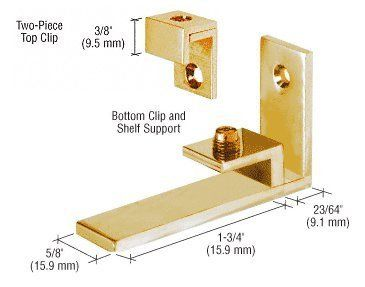 "CRL Brass Combined Shelf Support and Mirror Clip by CR Laurence by CR Laurence. $30.25. Color: Brass For 1/4"" to 5/16"" (6 to 8 mm) Mirror and Shelf Available in Three Finishes Supplied with Wood Screws and Anchors The CRL Combination Shelf Support and Mirror Clips are uniquely designed for 1/4"" to 5/16"" (6 to 8 mm) mirror and a shelf. They simplify the process of installing mirrors by using the One-Piece Shelf Support and Clip on the bottom and the Two-Piece Clip on top ..."