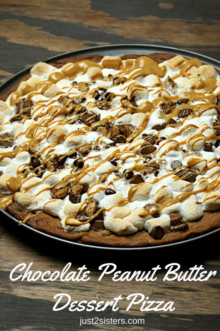 Chocolate Peanut Butter Dessert Pizza is a fantastic marriage of the two ingredients! Goes great with an ice cold glass of milk! Easy to make Dessert Pizza