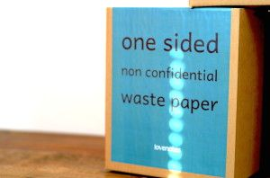 Nonconfidential office paper made into note paper products