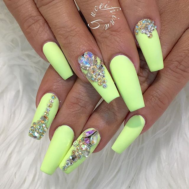 Neon Yellow Ballerina Nails With Rhinestones