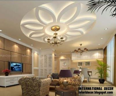 10 unique false ceiling modern designs interior living - Interior design ceiling living room ...