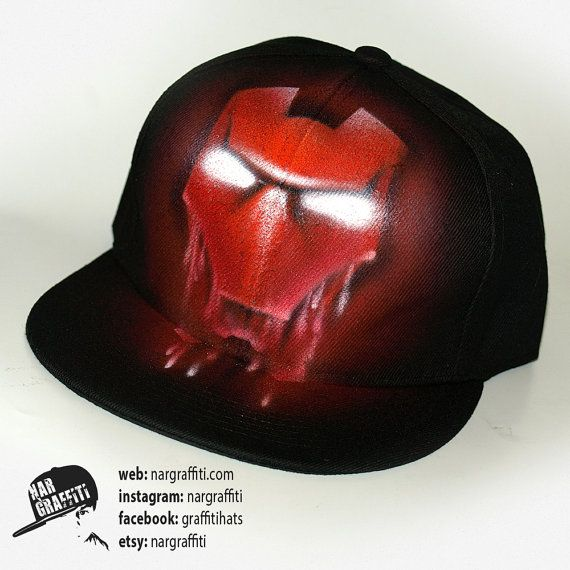 IRONMAN Snapback Baseball Cap GRAFFITI Hat Best Personalized gift with custom name for boys and  girls Hand painted flat peak Iron man cap