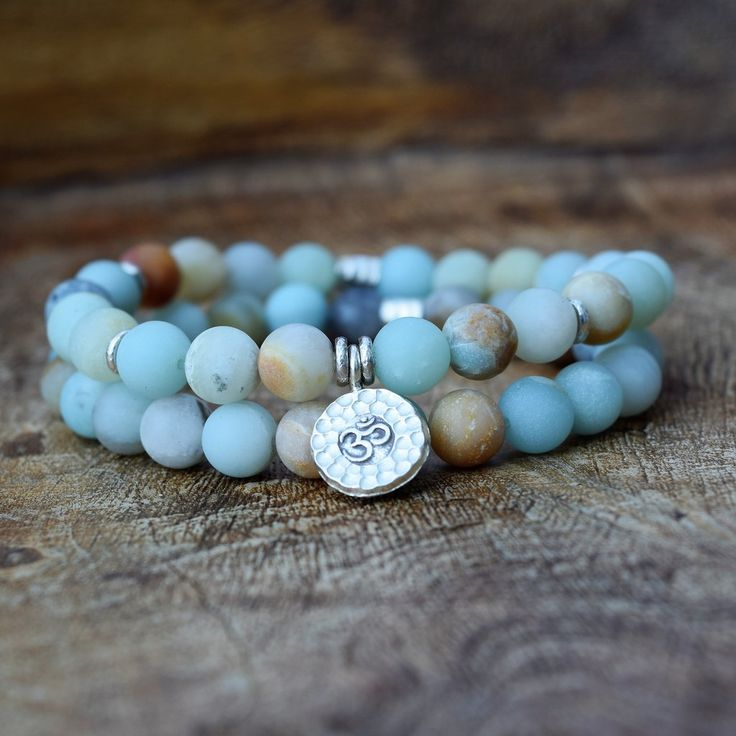 The OM Bracelet Set - Frosted Amazonite
