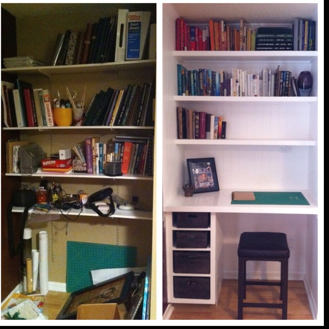 My first ever created pin! Before & after turning a closet into built in bookshelves in my office.