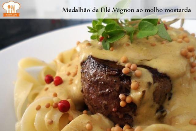 Medalhão de Filé Mignon ao molho mostarda. Uma ótima opção saudável de prato…