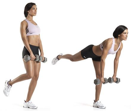 """""""Best New Exercises for Women"""" from Women's Health online - This article has a lot of good exercises to add into your rotation. I especially like this Single-Leg Deadlift pictured for your hamstrings!!"""
