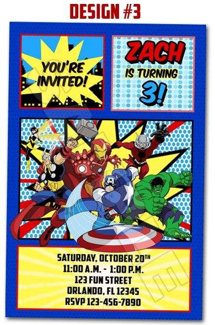Avengers Superheroes Movie Ironman Birthday Party Photo Invitations - I really like this one