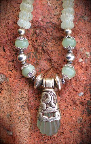 Tibetan Jade Amulet Necklace by Maggie Zee  www.maggiezee.blogspot.com