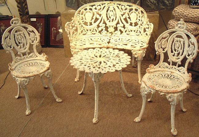 Ive always loved furniture like this.  The patina is wondeful. Cast iron garden furniture. Victorian circa 1880.