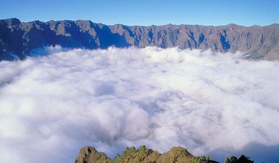La Palma. La Caldera de Taburiente. An Island with 2500m mountains, roads above 500m over sea level.