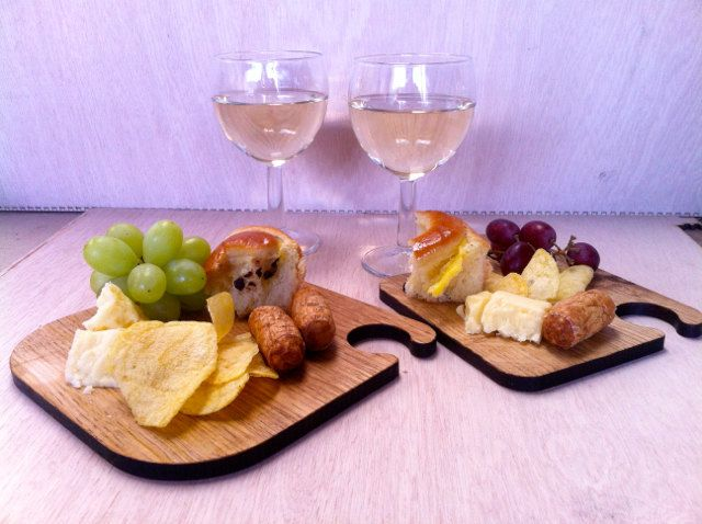 canapes and wine glass holder our wibble bord for wine