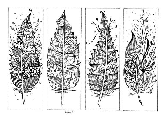 Book Marks Zentangle Inspired Hand drawn Colouring by CuriousType