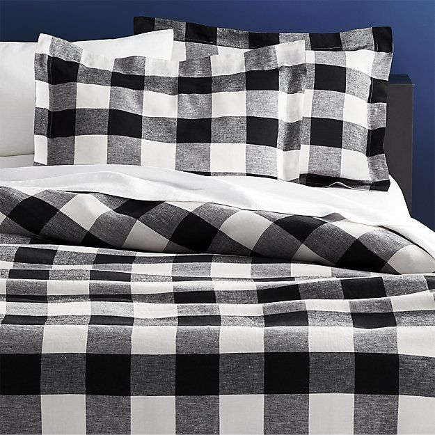 Shop Buffalo Plaid Linen Bed Linens Meet Your New Favorite Neutral This Forever Cool Black And White Plai Bed Linen Design Plaid Bedding Bed Linens Luxury