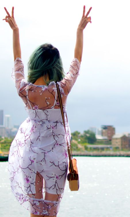 I want to wear this cherry blossom sheer dress everywhere <3