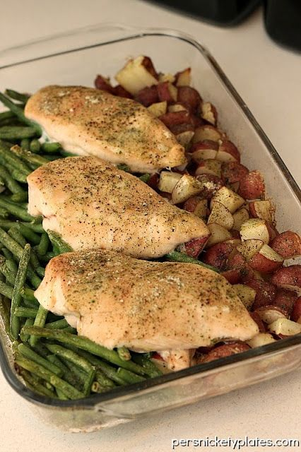 One Dish Ranch Chicken  Veggie Bake {Persnickety Plates} change the potatoes to a bunch of roasted veggies!