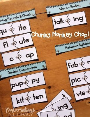Phonics Activities-Breaking Words Apart Activity-LOVE this for Word Work and Literacy Centers!!  Doing The Chunky Monkey Chop!!