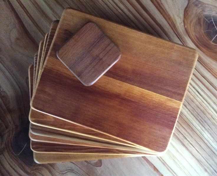 Cedar placemats and coasters.