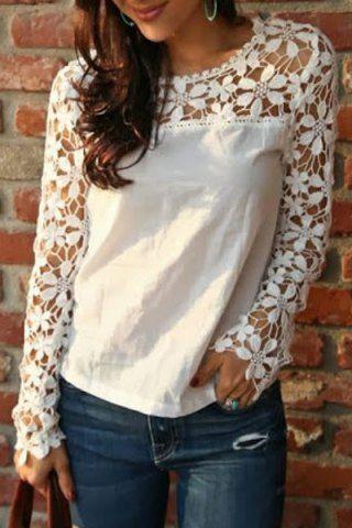 Stylish Scoop Neck Long Sleeve Crochet Flower Spliced Women's Blouse