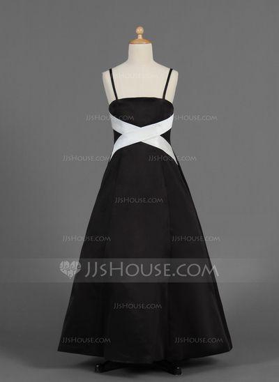 Junior Bridesmaid Dresses - $108.99 - A-Line/Princess Floor-Length Satin Junior Bridesmaid Dress With Sash (009016351) http://jjshouse.com/A-Line-Princess-Floor-Length-Satin-Junior-Bridesmaid-Dress-With-Sash-009016351-g16351