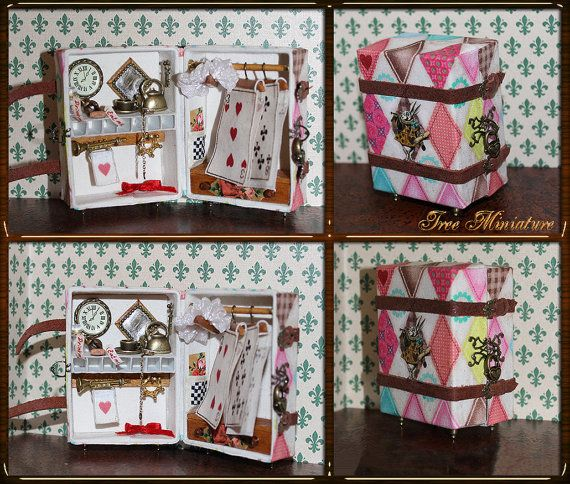 This vintage travelling wardrobe with accessories complete is for 12th scale miniature. They are designed for dolls, dollhouse, roombox and just for decoration of your room. As shown in the pictures, it opens on order to be used as storage box as well. It is an excellent decoration for everybody who love Alice and rabbit! Measures of suitcase are about 7-8 cm x 5,5-6 cm x 4-4,5 cm  Every art object I make one of a kind, and it has its own personality! Its handmade. This is a dollhouse…