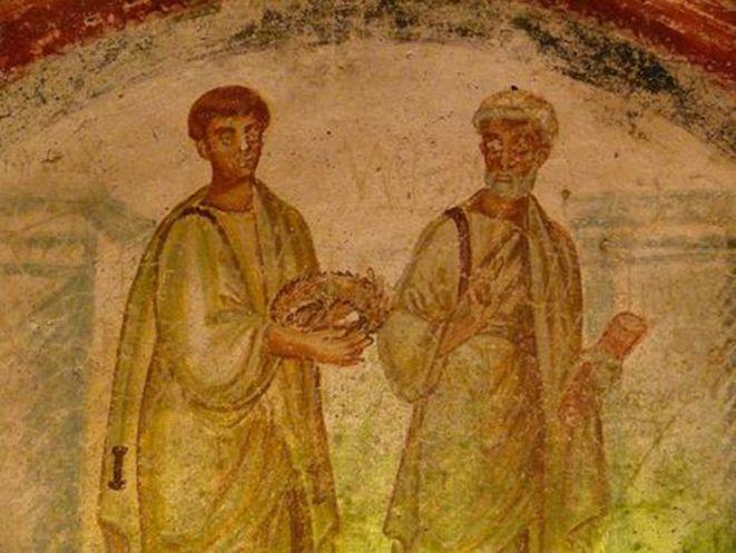 Catacombe di San Gennaro, Napoli. Affresco. V secolo. San Pietro con una figura reggente una corona