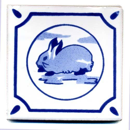 Handbemalte Fliese 10x10 - Friese Kaninchen kaufen im Mexiko-Fliesen Shop.