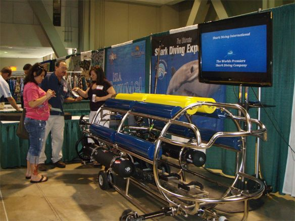 """Thank You for stopping by our booth at the SCUBA SHOW at the Long Beach Convention Center. We had a great time and enjoyed both seeing you again and seeing you for the first time.  We had the official """"Roll Out"""" of our Self Propelled Shark Cage (SPSC), which is seen here. Now we can follow the Great Whites wherever they choose to go."""
