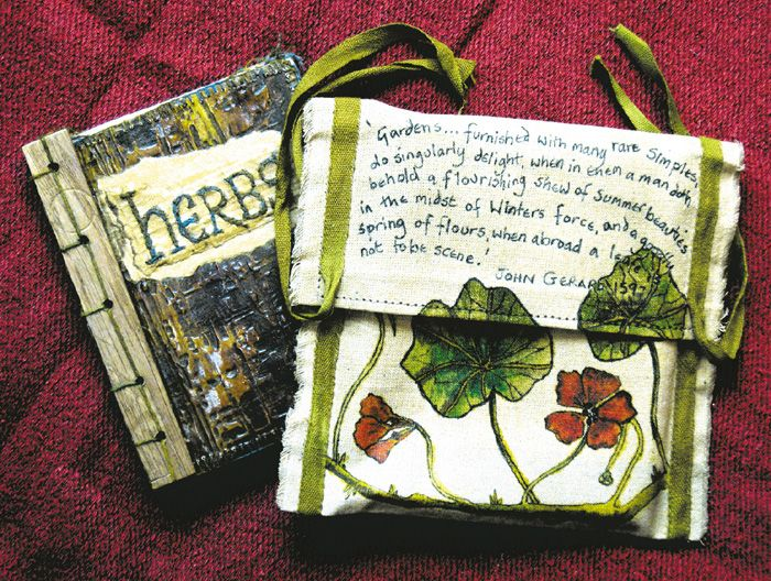 'Herbs' calico pouch with brown paper and calico book with Japanese binding using small pieces of 16th Century wood, illustration and stitch (click to enlarge)