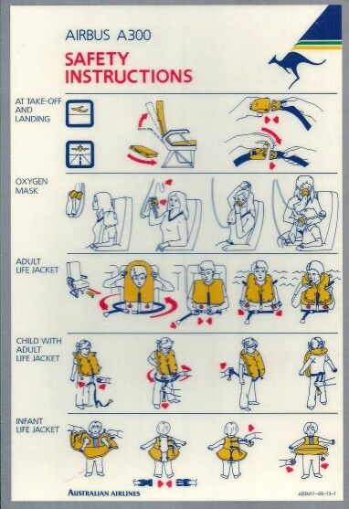 Australian Airlines A300 Safety Card