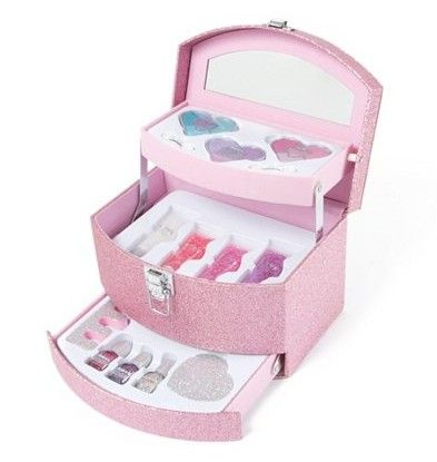 Deluxe Tiered Glitter Makeup Kit from Claire's.  Sparkle and shine from head to toe with this dazzling deluxe tiered makeup kit. The kit is covered in sparkly pink glitter and opens to reveal 3 tiers filled with eyeshadow, lip gloss and nail care.  Get your rebate from RebateGiant.