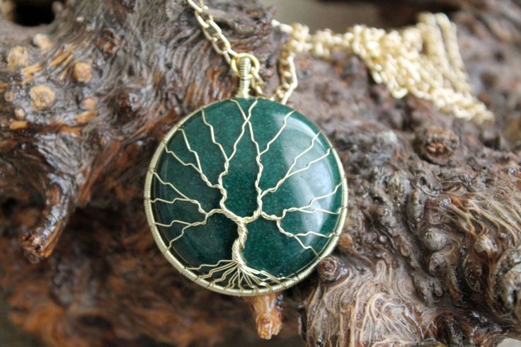 """Tree of Life Wire-Wrapped Pendant with green mountain """"jade"""" stone and Golden Wire by TwistedWireCraft on Etsy"""