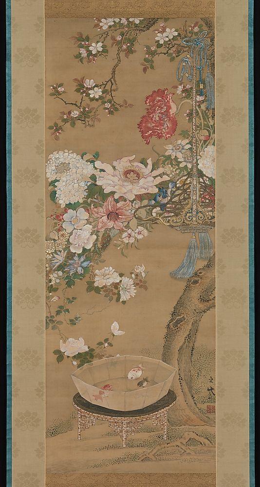 Flowers and Goldfish Sō Shizan (Japanese, 1733–1805)