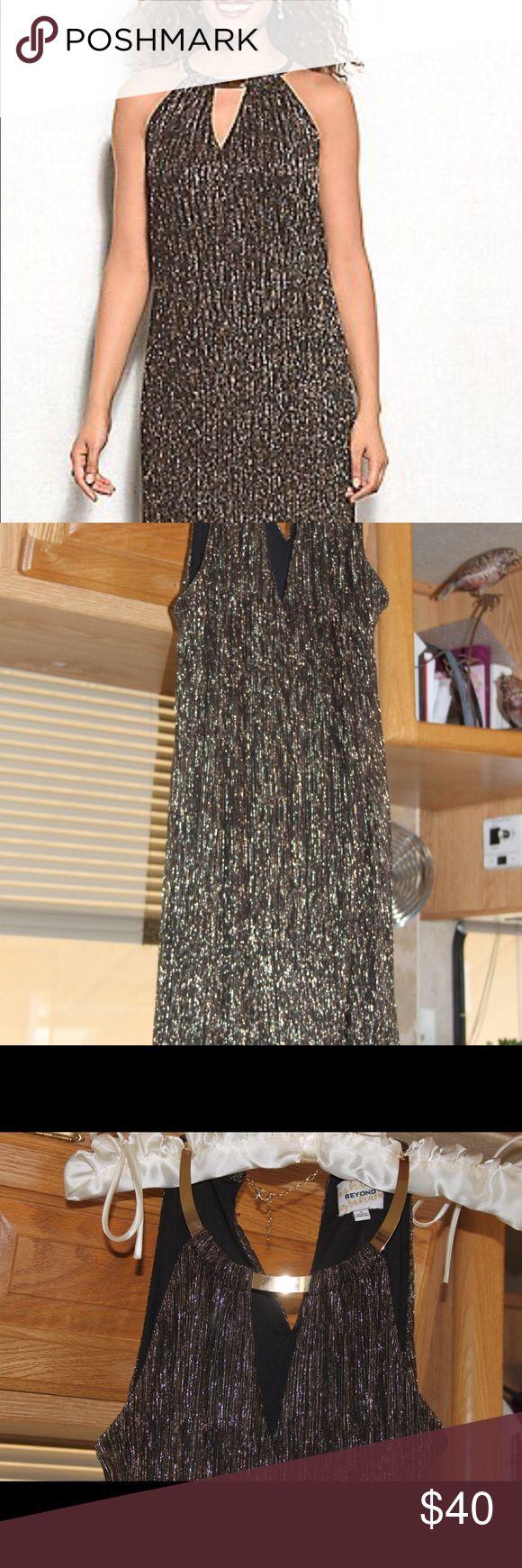Ashley Graham party dress Ashley Graham Beyond  Metallic in blacks, copper, silver Fully lined in black  Slight high low hem  Size 4 BNWT Ashley Graham Dresses High Low