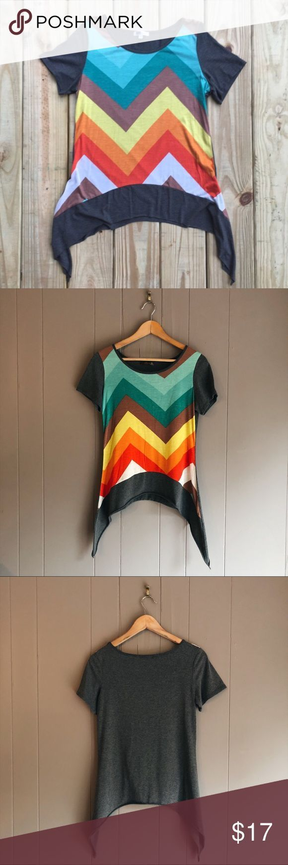 Rainbow Chevron Shark-bite Hem Tee Very cute and colorful T-shirt in excellent c…