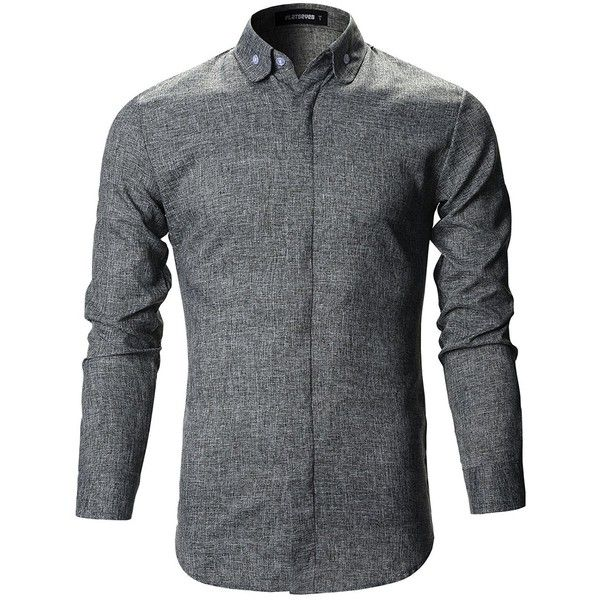 FLATSEVEN Mens Slim Fit Designer Round Collar Button Down Dress Shirts... ($30) ❤ liked on Polyvore featuring men's fashion, men's clothing, men's shirts, men's dress shirts, mens slim fit button up shirts, mens button up dress shirts, mens grey shirt, mens gray dress shirt and mens grey button up shirt