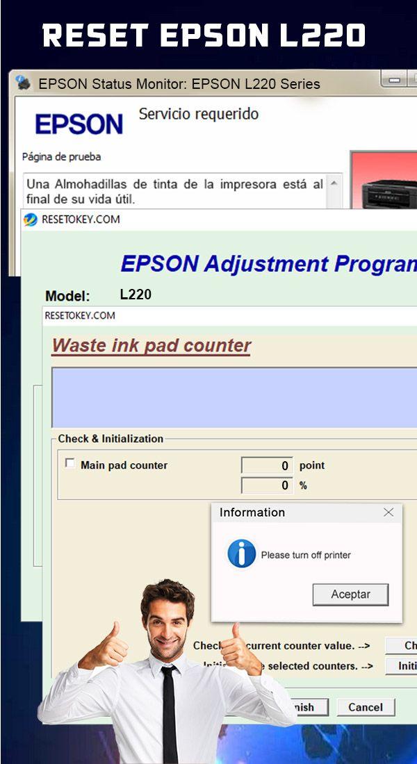 Reset Almohadillas Epson L220 Impresora Sistema Operativo Windows Monitor