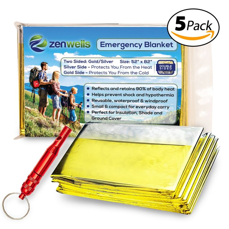 Emergency Mylar Thermal Blanket Double-Sided - Gold/Silver (5-Pack) - Plus Bonus Survival Whistle, Best for Outdoor, Camping, Hiking, Survivalist, Shelters, Hunting, First Aid Kit