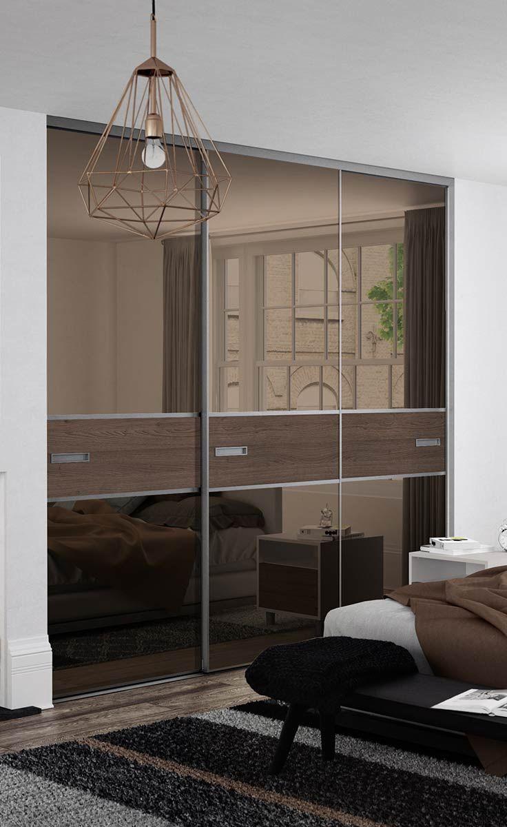 Sliding door s800 - Premium Mini 3 Panel Fineline Sliding Wardrobe Doors In Bronze Mirror And Tortona Chestnut Wood With A Titanium Frame