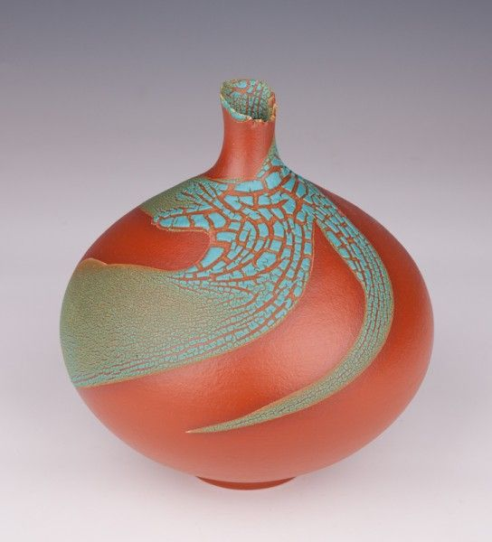 "Bottle Vase, Orange Terra Sigillata, Crawl Glaze, 9 1/2"" T"