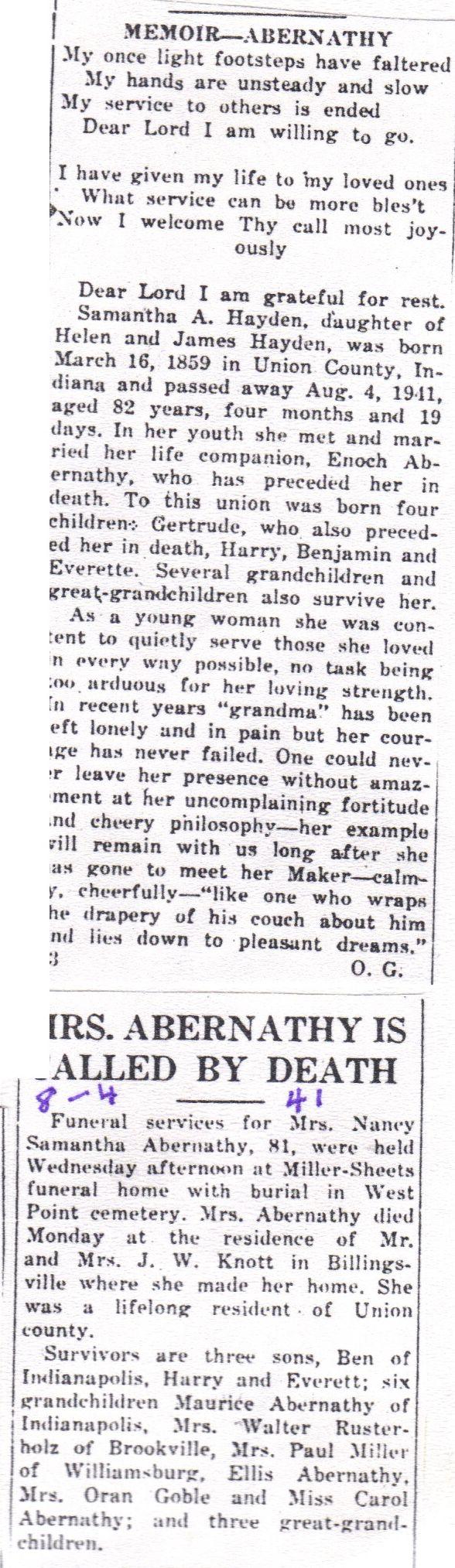 Nancy Samantha Hayden Abernathy (1859 - 1941) - Find A Grave Photos