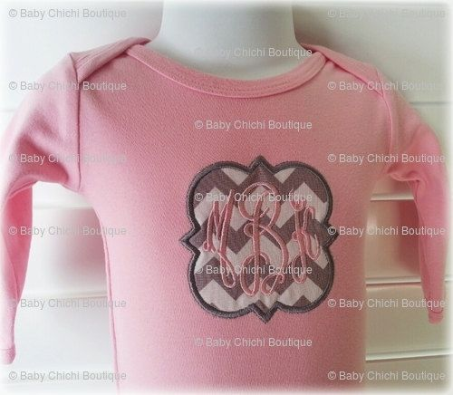 Baby Girl Infant Gown  3 Letter Monogram and by BabyChichiBoutique, $28.50
