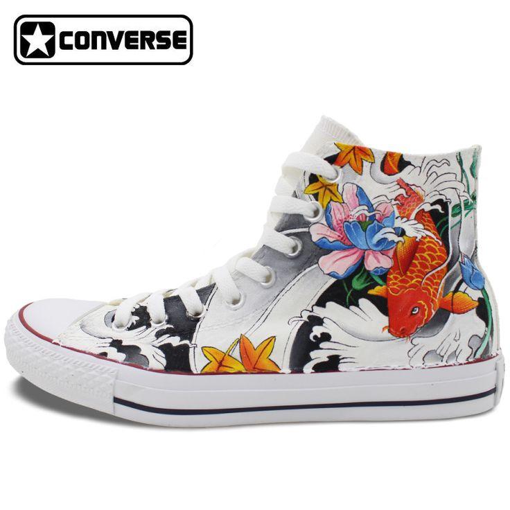 High Top Converse Chuck Taylor Men Women Shoes Carp Tattoo Original Design Hand Painted Canvas Sneakers Man Woman Creative GIfts